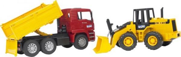 Bruder 02752 MAN TGA Kipplastwagen und Gelenkradlader FR130