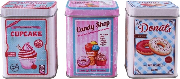 Cupcake,Candy Shop, Donuts Metalldose Set