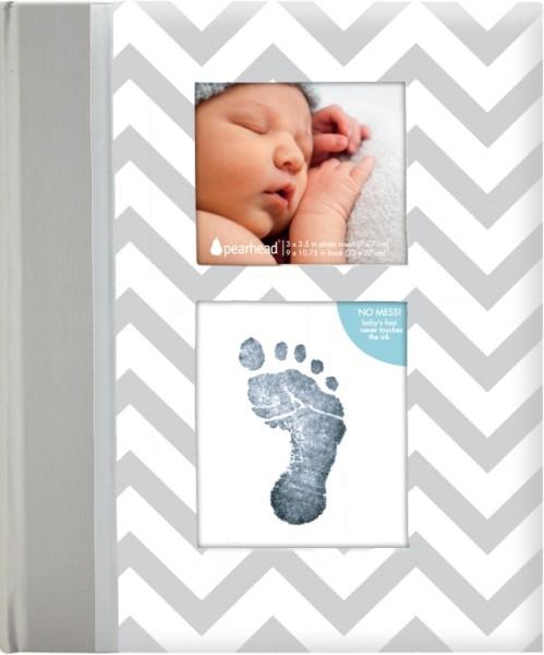 Chevron Babybuch grau