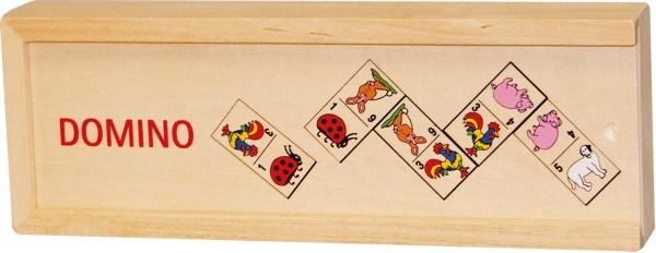 GoKi Domino mit Tiermotiven im Holzkasten