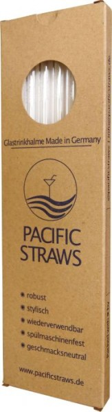 Pacific Straws Glastrinkhalme 6er Set mit Bürste